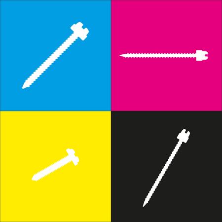 Ilustración de signo de tornillo. Vector. Icono blanco con proyecciones isométricas sobre fondos cian, magenta, amarillo y negro.