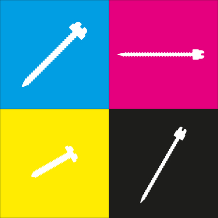 Screw sign illustration. Vector. White icon with isometric projections on cyan, magenta, yellow and black backgrounds.