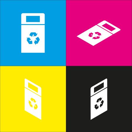 Mülleimer Zeichen Abbildung. Vektor. Weiße Ikone mit isometrischen Projektionen auf den cyan-blauen, magentaroten, gelben und schwarzen Hintergründen.