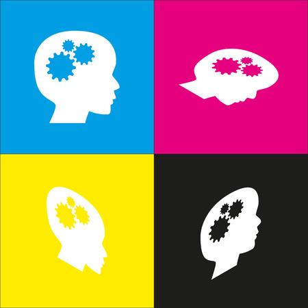 brain illustration: Thinking head sign.