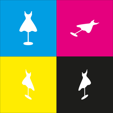 Mannequin with dress sign. Vector. White icon with isometric projections on cyan, magenta, yellow and black backgrounds.
