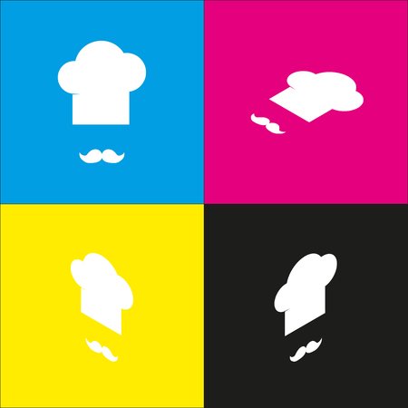 Chef hat and moustache sign. Vector. White icon with isometric projections on cyan, magenta, yellow and black backgrounds. Illustration