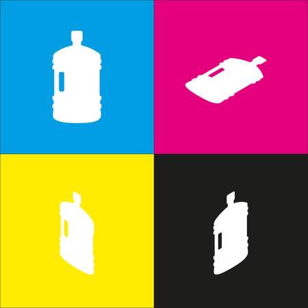 Plastic bottle silhouette sign. Vector. White icon with isometric projections on cyan, magenta, yellow and black backgrounds. Illustration