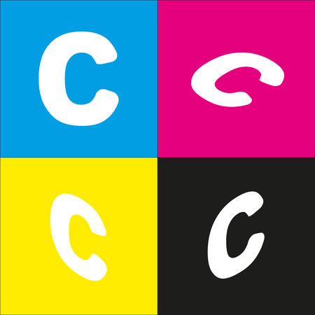 Letter C sign design template element. Vector. White icon with isometric projections on cyan, magenta, yellow and black backgrounds.