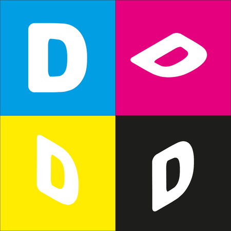 d mark: Letter D sign design template element. Vector. White icon with isometric projections on cyan, magenta, yellow and black backgrounds.
