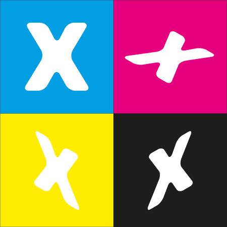 Letter X sign design template element. Vector. White icon with isometric projections on cyan, magenta, yellow and black backgrounds.