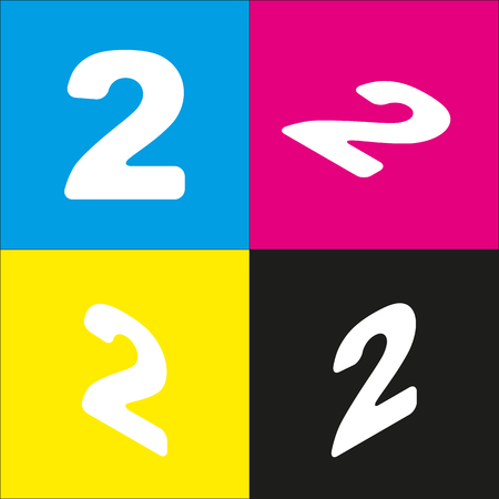 Number 2 sign design template elements. Vector. White icon with isometric projections on cyan, magenta, yellow and black backgrounds.