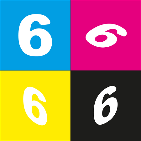 Number 6 sign design template element. Vector. White icon with isometric projections on cyan, magenta, yellow and black backgrounds. Illustration