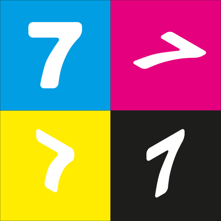 equation: Number 7 sign design template element. Vector. White icon with isometric projections on cyan, magenta, yellow and black backgrounds. Illustration