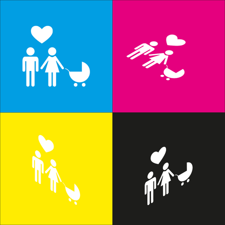 familiar: Family symbol with pram and heart. Husband and wife are kept each other`s hands. Love. Vector. White icon with isometric projections on cyan, magenta, yellow and black backgrounds.