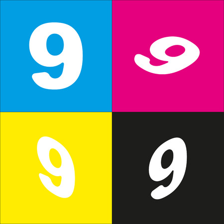 Number 9 sign design template element. Vector. White icon with isometric projections on cyan, magenta, yellow and black backgrounds.