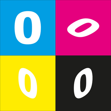 Number 0 sign design template element. Vector. White icon with isometric projections on cyan, magenta, yellow and black backgrounds. Illustration