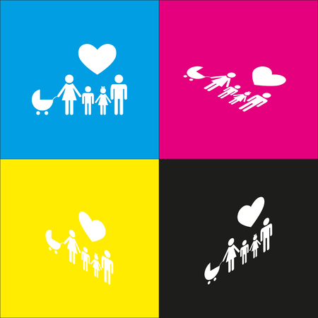 child holding sign: Family sign with heart. Husband and wife are kept childrens hands. Vector. White icon with isometric projections on cyan, magenta, yellow and black backgrounds.