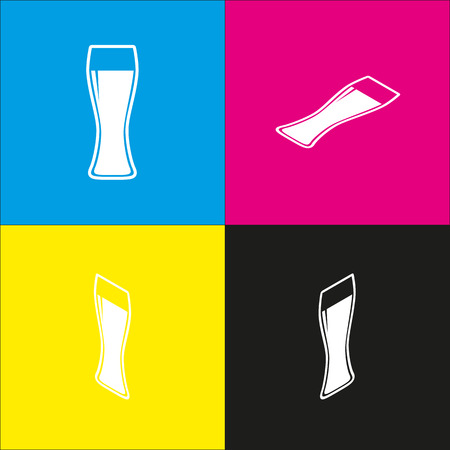 Beer glass sign. Vector. White icon with isometric projections on cyan, magenta, yellow and black backgrounds.