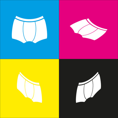 Man`s underwear sign. Vector. White icon with isometric projections on cyan, magenta, yellow and black backgrounds. Illustration