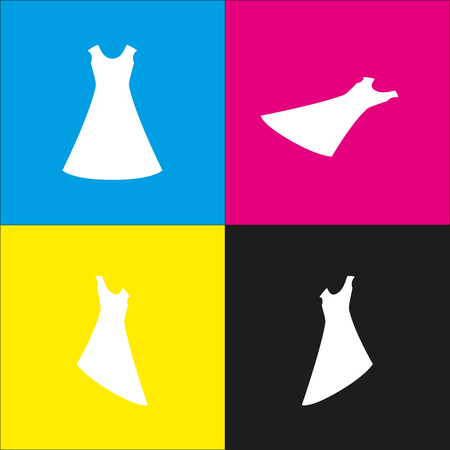 cor: Beautiful long dress sign. Vector. White icon with isometric projections on cyan, magenta, yellow and black backgrounds. Illustration