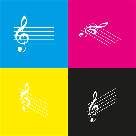Music violin clef sign. G-clef. Vector. White icon with isometric projections on cyan, magenta, yellow and black backgrounds.