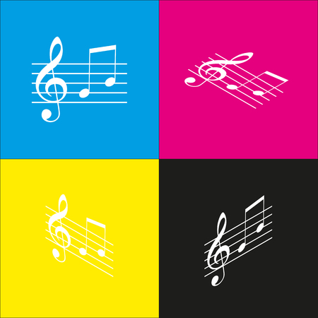 festival scales: Music violin clef sign. G-clef and notes G, H. Vector. White icon with isometric projections on cyan, magenta, yellow and black backgrounds. Illustration