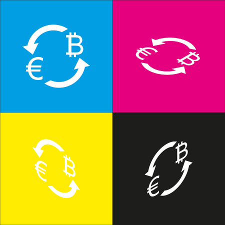 Currency exchange sign. Euro and Bitcoin. Vector. White icon with isometric projections on cyan, magenta, yellow and black backgrounds.