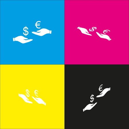 Currency exchange from hand to hand. Dollar adn Euro. Vector. White icon with isometric projections on cyan, magenta, yellow and black backgrounds.