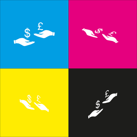 Currency exchange from hand to hand. Dollar and Pound. Vector. White icon with isometric projections on cyan, magenta, yellow and black backgrounds.