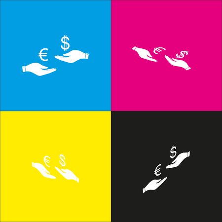 Currency exchange from hand to hand. Euro and Dollar. Vector. White icon with isometric projections on cyan, magenta, yellow and black backgrounds.
