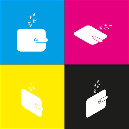 Wallet sign with currency symbols. Vector. White icon with isometric projections on cyan, magenta, yellow and black backgrounds. Illustration