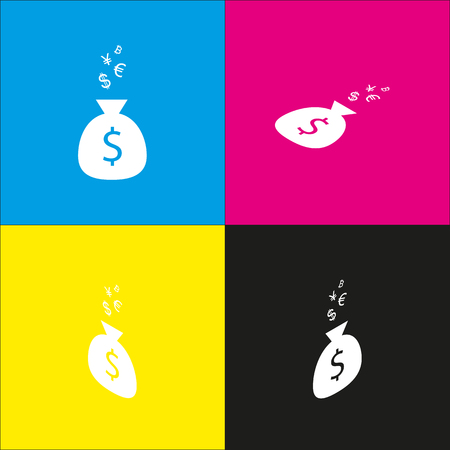Money bag sign with currency symbols. Vector. White icon with isometric projections on cyan, magenta, yellow and black backgrounds.