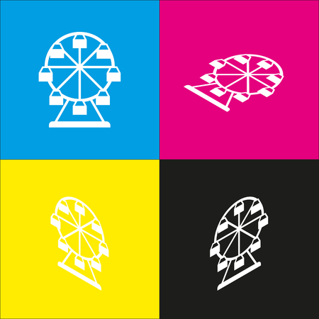 amusement park black and white: Ferris wheel sign. Vector. White icon with isometric projections on cyan, magenta, yellow and black backgrounds. Illustration