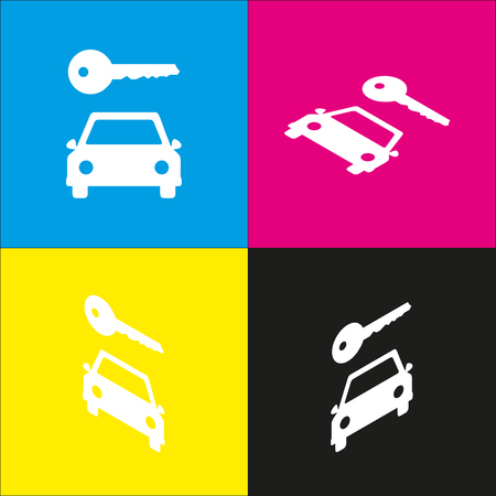 rent index: Car key simplistic sign. Vector. White icon with isometric projections on cyan, magenta, yellow and black backgrounds.
