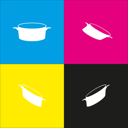 Pan sign. Vector. White icon with isometric projections on cyan, magenta, yellow and black backgrounds. Illustration