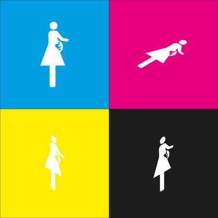 Women and baby sign. Vector. White icon with isometric projections on cyan, magenta, yellow and black backgrounds.