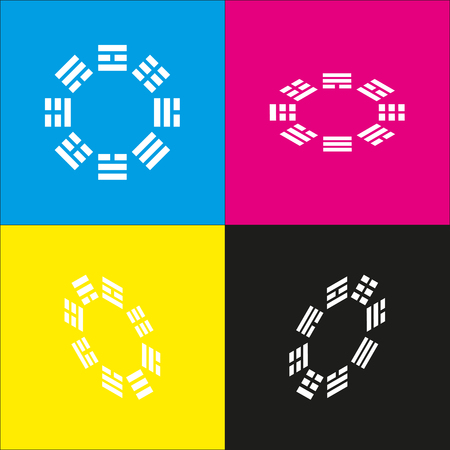 taiji: Bagua sign. Vector. White icon with isometric projections on cyan, magenta, yellow and black backgrounds. Illustration