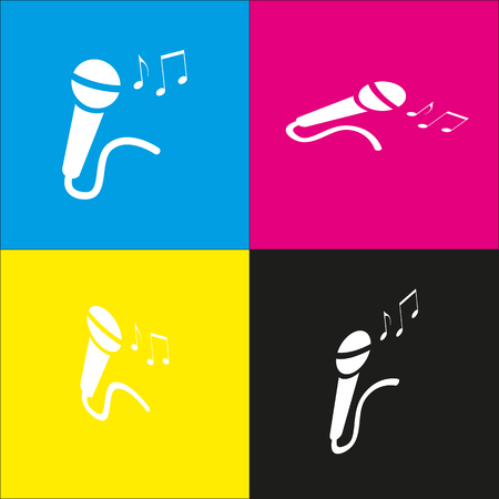amplification: Microphone sign with music notes. Vector. White icon with isometric projections on cyan, magenta, yellow and black backgrounds. Illustration