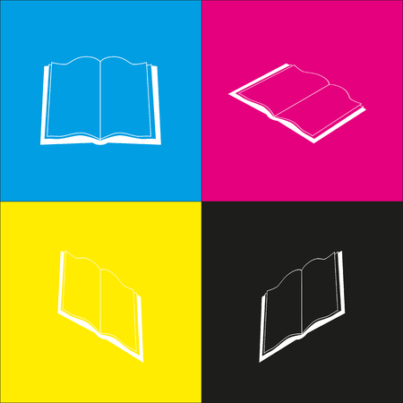 literature: Book sign. Vector. White icon with isometric projections on cyan, magenta, yellow and black backgrounds.