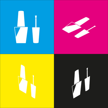 paint container: Nail polish sign. Vector. White icon with isometric projections on cyan, magenta, yellow and black backgrounds. Illustration