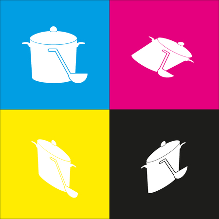 Pan with steam sign. Vector. White icon with isometric projections on cyan, magenta, yellow and black backgrounds. Illustration
