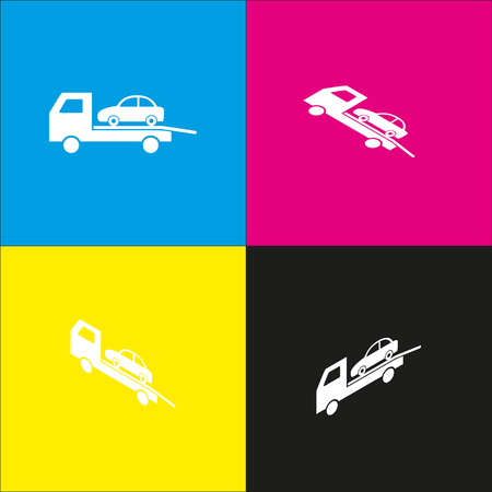 evacuate: Tow car evacuation sign. Vector. White icon with isometric projections on cyan, magenta, yellow and black backgrounds. Illustration