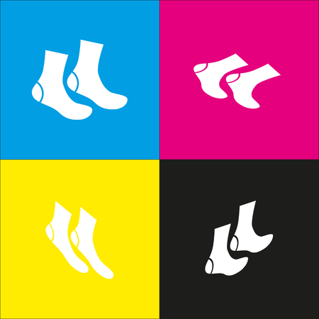 stocking feet: Socks sign. Vector. White icon with isometric projections on cyan, magenta, yellow and black backgrounds.