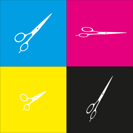 scissors: Hair cutting scissors sign. Vector. White icon with isometric projections on cyan, magenta, yellow and black backgrounds.