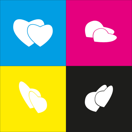 cor: Two hearts sign. Vector. White icon with isometric projections on cyan, magenta, yellow and black backgrounds. Illustration