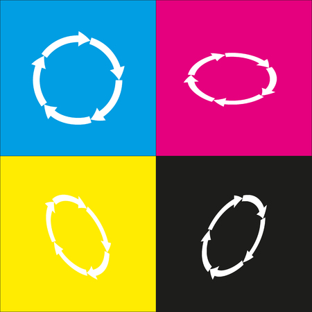 shopping chart: Circular arrows sign. Vector. White icon with isometric projections on cyan, magenta, yellow and black backgrounds. Illustration