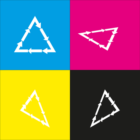 Plastic recycling symbol PVC 3 , Plastic recycling code PVC 3. Vector. White icon with isometric projections on cyan, magenta, yellow and black backgrounds.