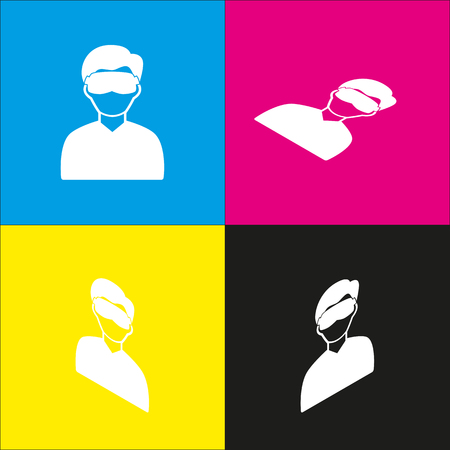 Man with sleeping mask sign. Vector. White icon with isometric projections on cyan, magenta, yellow and black backgrounds. Illustration