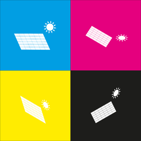 Solar energy panel. Eco trend concept sign. Vector. White icon with isometric projections on cyan, magenta, yellow and black backgrounds. Illustration
