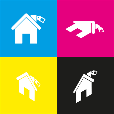 house for sale: Home silhouette with tag. Vector. White icon with isometric projections on cyan, magenta, yellow and black backgrounds. Illustration