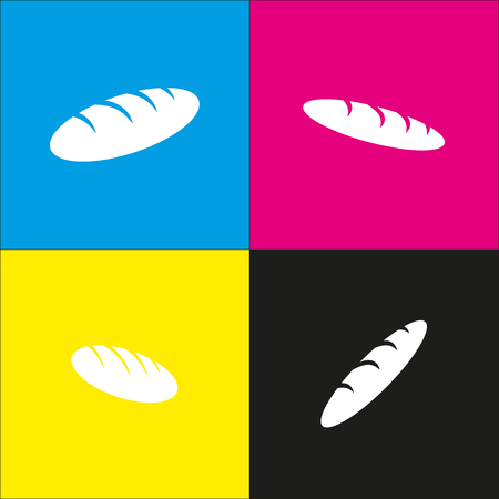 french toast: Bread sign. Vector. White icon with isometric projections on cyan, magenta, yellow and black backgrounds.