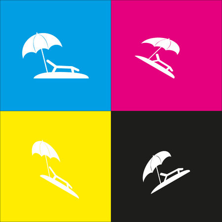brolly: Tropical resort beach. Sunbed Chair sign. Vector. White icon with isometric projections on cyan, magenta, yellow and black backgrounds.