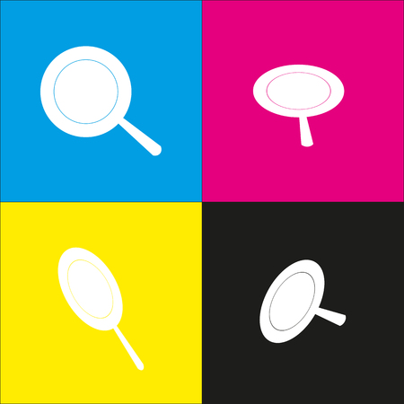 steam iron: Pan sign. Vector. White icon with isometric projections on cyan, magenta, yellow and black backgrounds. Illustration