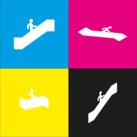 Man on moving staircase going up. Vector. White icon with isometric projections on cyan, magenta, yellow and black backgrounds.